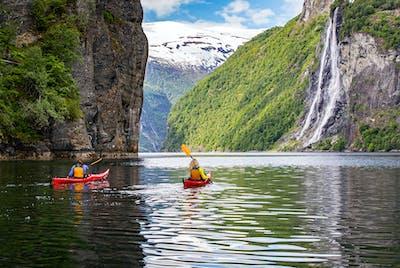 Syv søstre - Fossefall i Geirangerfjorden
